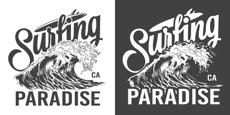 Vintage surfing paradise label with ocean wave in monochrome style isolated vector illustration Illustration