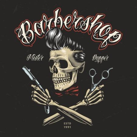 Vintages buntes Barbershop-Logo mit Hipster-Schädel gekreuzten Skeletthänden, die Rasiermesser und Schere halten, isolierte Vektorillustration