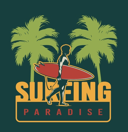 Summer surfing colorful label with surfer holding surfboard between palm trees in vintage style isolated vector illustration