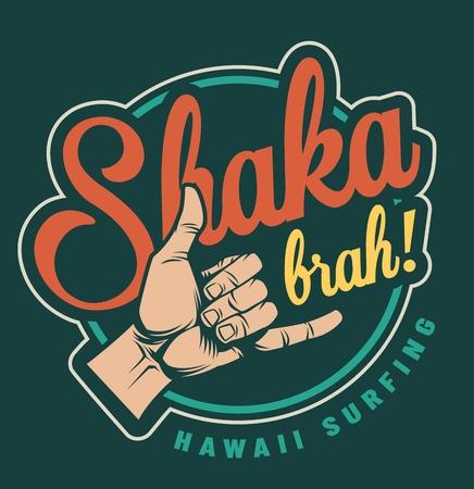 Emblema colorido del tiempo de surf de la vendimia con el ejemplo aislado del vector de la muestra de la mano del shaka de la persona que practica surf Ilustración de vector