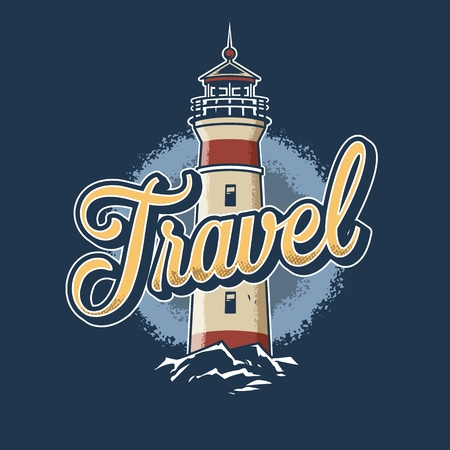 Vintage colorful nautical template with lighthouse isolated vector illustration