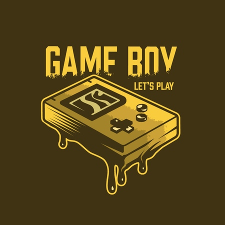 Vintage gaming concept with retro game pocket console isolated vector illustration