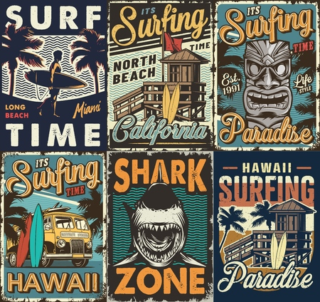 Vintage colorful surfing posters set with surf bus tribal hawaiian tiki mask shark wooden house man holding surfboards vector illustration Illustration