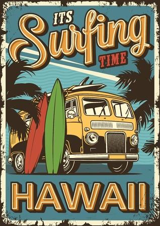 Vintages buntes Surfplakat mit Surfvan-Palmen und Surfbretter-Vektorillustration Vektorgrafik