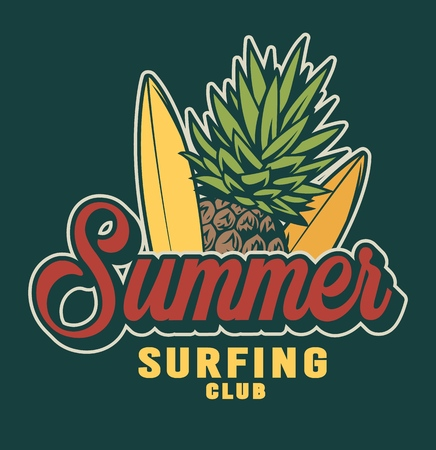 Vintage summer surfing colorful label with bananas and pineapple isolated vector illustration Vetores