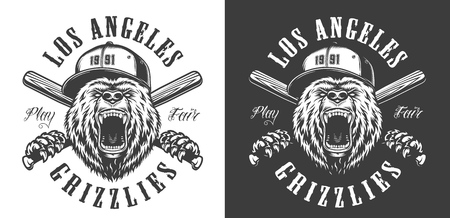 Vintage monochrome baseball club emblem with angry bear head in cap mascot and crossed bats isolated vector illustration