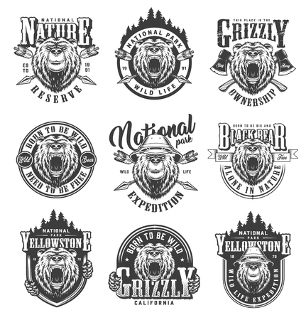 Vintage monochrome national park emblems with ferocious and serious bears heads crossed arrows and axes isolated vector illustration