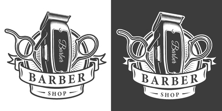 Vintage barbershop monochrome badge with electric hair clipper and scissors isolated vector illustration Vetores