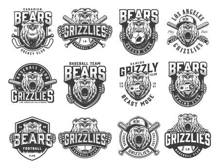 Emblemas de equipos deportivos monocromos vintage con osos feroces, mascotas de fútbol, béisbol, hockey y clubes de juego, ilustración vectorial
