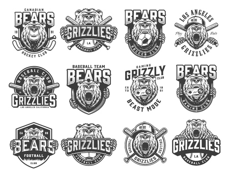 Vintage monochrome sport teams emblems set with ferocious bears mascots of football baseball hockey and gaming clubs isolated vector illustration