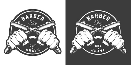 Monochrome barbershop emblem with male hands holding crossed razors in vintage style isolated vector illustration