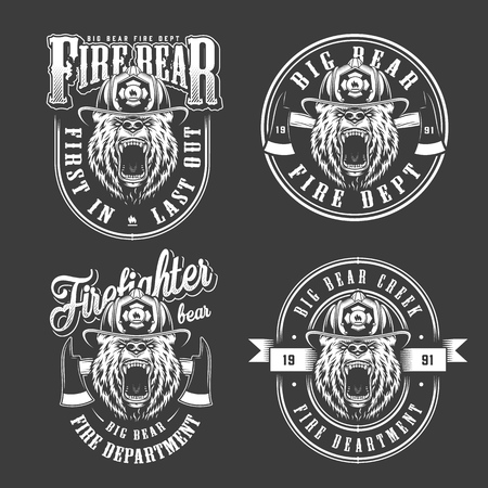 Angry bear in fireman helmet labels with axes and inscriptions in vintage monochrome style isolated vector illustration