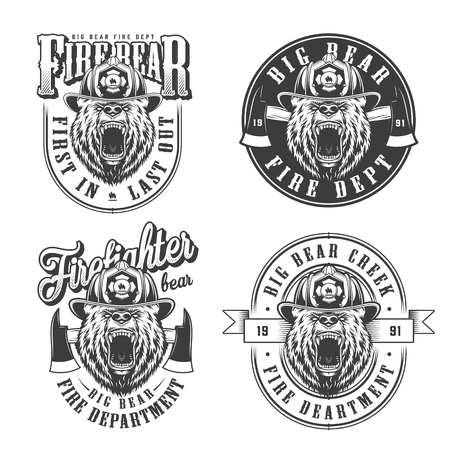 Vintage monochrome firefighting emblems set with ferocious bear heads in fireman helmet and axes isolated vector illustration