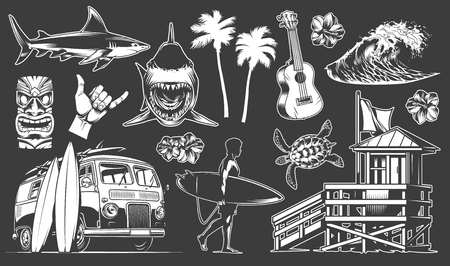 Vintage surfing elements set with shark surfer holding surfboard ukulele tribal mask surf van shaka hand sign palms sea wave turtle hibiscus flower vector illustration Ilustrace