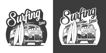Vintage surfing time monochrome label with surf van and surfboards isolated vector illustration