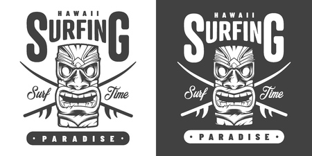 Vintage hawaii surfing monochrome emblem with inscriptions and hawaiian tribal tiki mask isolated vector illustration