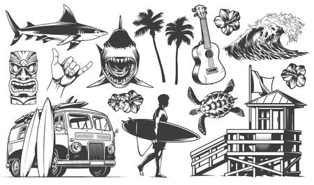 Vintage surfing elements monochrome collection with animals surfer surfboards tribal mask ukulele flower palm sea wave surf van shaka hand sign surfing club house vector illustration