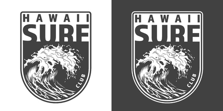 Vintage monochrome hawaii surfing badge with big sea wave isolated vector illustration