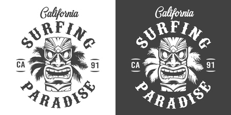 Vintage monochrome surfing paradise label with hawaiian tribal tiki mask and palm leaves isolated vector illustration