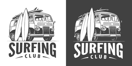 Vintage surfing club emblem with surfer bus and surfboards in monochrome style isolated vector illustration
