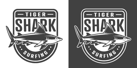 Vintage surfing sport emblem with shark in monochrome style isolated vector illustration