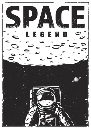 Vintage monochrome space poster with astronaut on moon background vector illustration