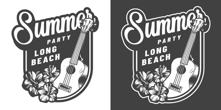 Vintage hawaii summer vacation monochrome badge with ukulele and hibiscus flowers isolated vector illustration