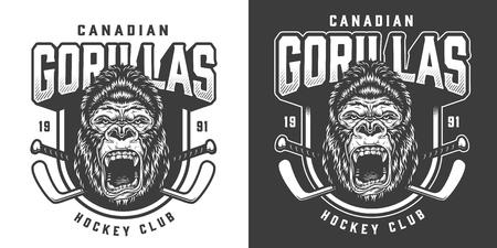 Vintage monochrome hockey club emblem with ferocious gorilla head mascot and crossed sticks isolated vector illustration 向量圖像