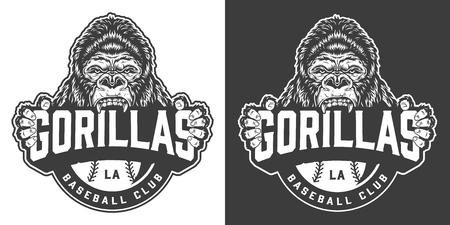 Logotipo de club de béisbol de gorilas vintage con mascota de mono feroz en ilustración de vector aislado estilo monocromo