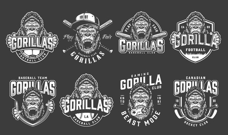 Vintage monochrome sport clubs logos set with angry gorilla mascot crossed hockey sticks joystick and baseball bats isolated vector illustration Иллюстрация