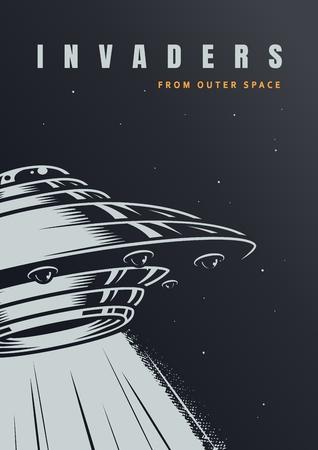 VIntage alien invasion poster with ufo on starry background vector illustration Illustration
