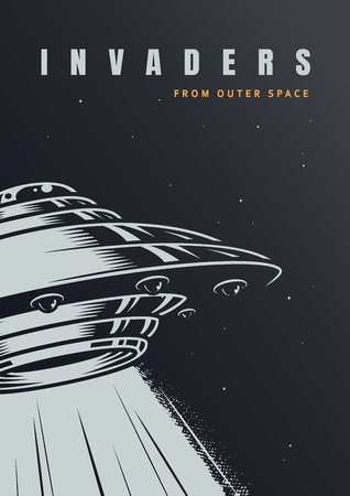 VIntage alien invasion poster with ufo on starry background vector illustration Иллюстрация