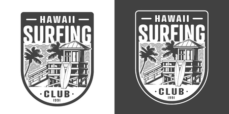Hawaii surfing club emblem with wooden hut and surfboards on beach in vintage monochrome style isolated vector illustration