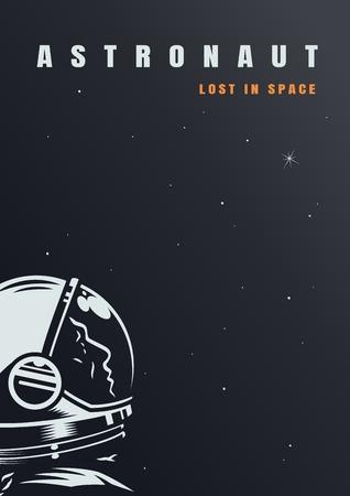 Cartel de galaxia y universo con cosmonauta en el espacio exterior en la ilustración de vector de estilo vintage