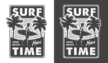 Vintage monochrome surfing time label with surfer holding surfboard palm trees and sea waves isolated vector illustration Иллюстрация