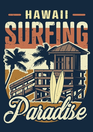 Vintage hawaii surfing colorful concept with house of surf club surfboards and palm trees vector illustration