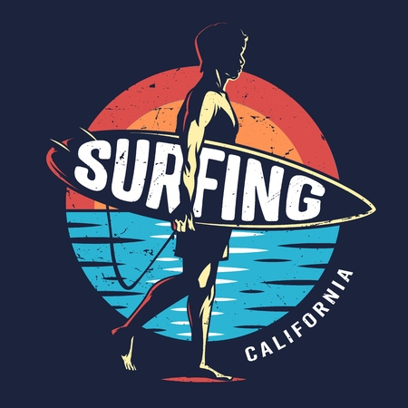 Vintage surfing sport colorful logo with surfer holding surfboard on sea landscape isolated vector illustration Иллюстрация