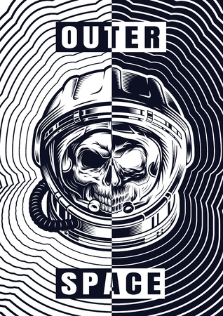 Vintage monochrome space template with skull in astronaut helmet divided on dark and light sides vector illustration