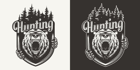 Vintage bear hunting print with ferocious grizzly head and forest silhouette in monochrome style isolated vector illustration Standard-Bild - 121467293