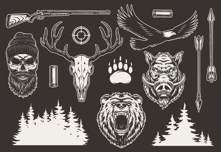 Vintage hunting elements collection with bear and boar heads shotgun shell arrows eagle animal footprint gun sight trees silhouette hunter and deer skulls isolated vector illustration Stock Vector - 121467294