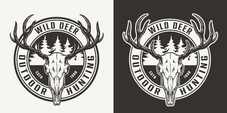 Vintage outdoor hunting round print with deer skull and forest silhouette in monochrome style isolated vector illustration