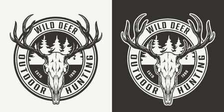 Vintage outdoor jacht ronde print met herten schedel en bos silhouet in zwart-wit stijl geïsoleerde vectorillustratie Vector Illustratie
