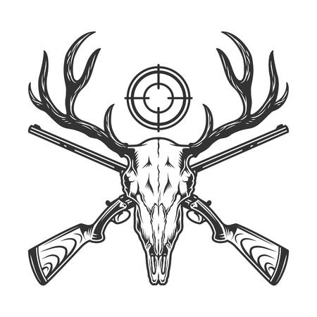 Plantilla de caza monocromática vintage con armas cruzadas de cráneo de venado y mira de rifle aislado ilustración vectorial