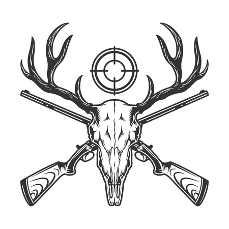 Vintage monochrome hunting template with deer skull crossed guns and rifle sight isolated vector illustration Illustration