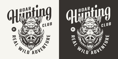 Monochrome hunting club logotype with angry boar head in vintage style isolated vector illustration