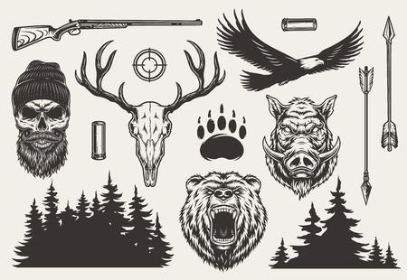 Elementos de caza monocromáticos vintage con cráneos de cazador y ciervo, cabezas de jabalí de oso enojado, armas, puntería, flechas de seguimiento de animales, silueta de bosque de águila aislado ilustración vectorial
