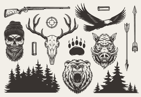 Insieme di elementi di caccia monocromatici vintage con cacciatore e teschi di cervo orso arrabbiato teste di cinghiale arma pistola obiettivo pista animale frecce aquila foresta sagoma illustrazione vettoriale isolato