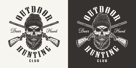Vintage monochrome hunting club print with hunter skull in beanie hat and crossed guns isolated vector illustration Stock Illustratie