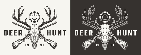 Vintage monochrome hunting badge with deer skull aim and crossed guns isolated vector illustration Illustration