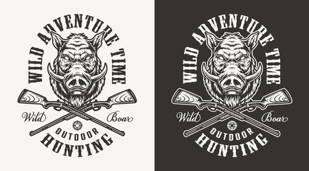 Vintage monochrome hog hunting print with boar head and crossed guns isolated vector illustration